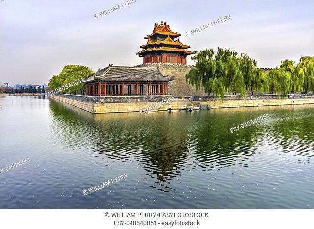 Arrow Watch Tower Gugong Forbidden City Moat Canal Plaace Wall Beijing China. Emperor's Palace Built in the 1600s in the Ming Dynasty