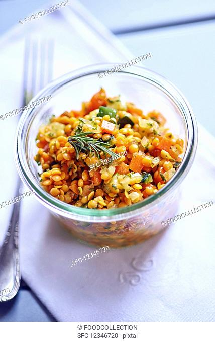 Red corail lentil salad in a glass
