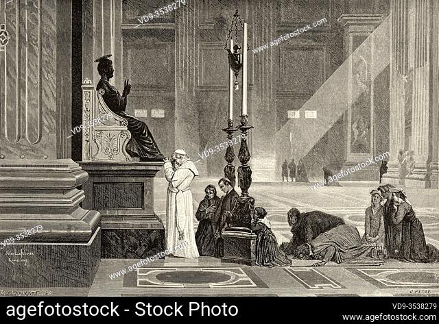 Pope Pius IX at the foot of the statue of St Peter, St Peter's Basilica, Rome. Italy, Europe. Trip to Rome by Francis Wey 19Th Century