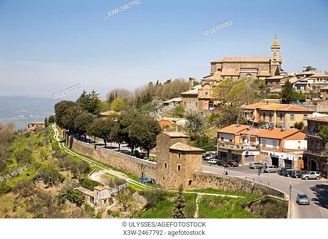 cityscape and Cathedral, Montalcino, Tuscany, Italy, Europe