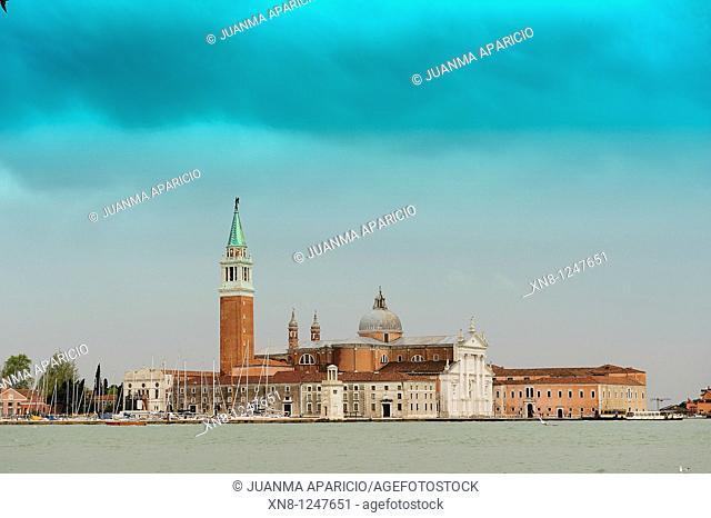 Isola di San Giorgio Maggiore gradient cyan filter, Venice, Italy