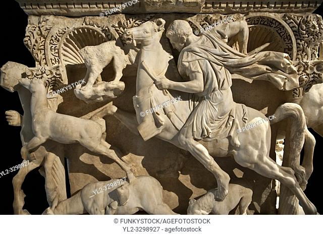 The Sidamara Sarcophagus, with 3rd Cent. AD Roman relief sculptures. Ambararasi (Konya) Turkey. Istanbul Archaeological Museum, Turkey, Inv