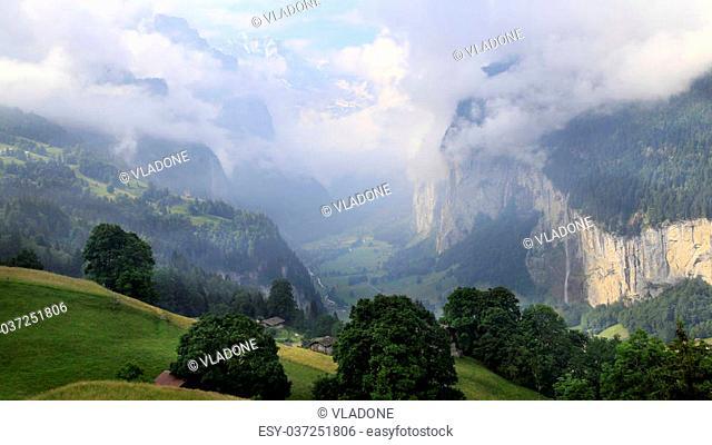 Stunning landscape in Lauterbrunnen valley, Switzerland, starting point for train tours in the Jungfrau region