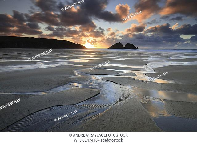 The beach at Holywell Bay on the North Coast of Cornwall, captured shortly before sunset in late February