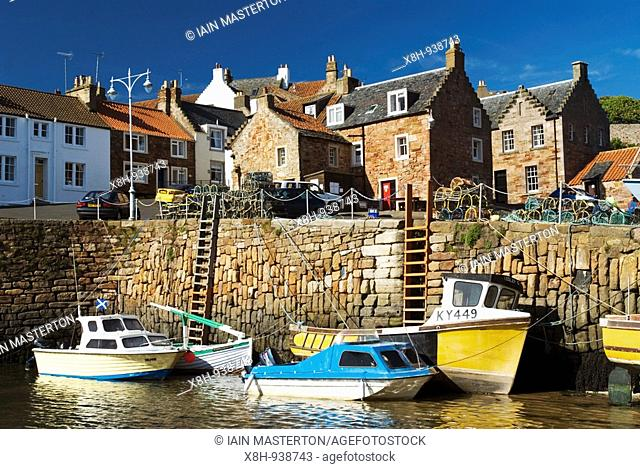 Boats in harbour at Crail fishing village in Fife Scotland