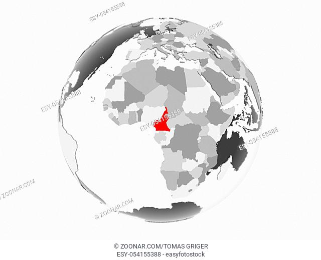 Cameroon highlighted in red on grey political globe with transparent oceans. 3D illustration isolated on white background