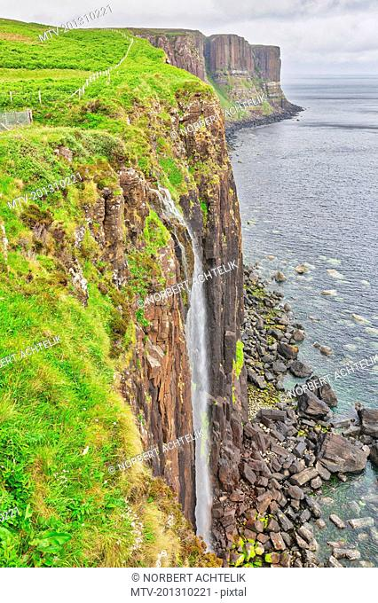 Kilt Rock and Mealt waterfall in Isle of Skye, Scotland