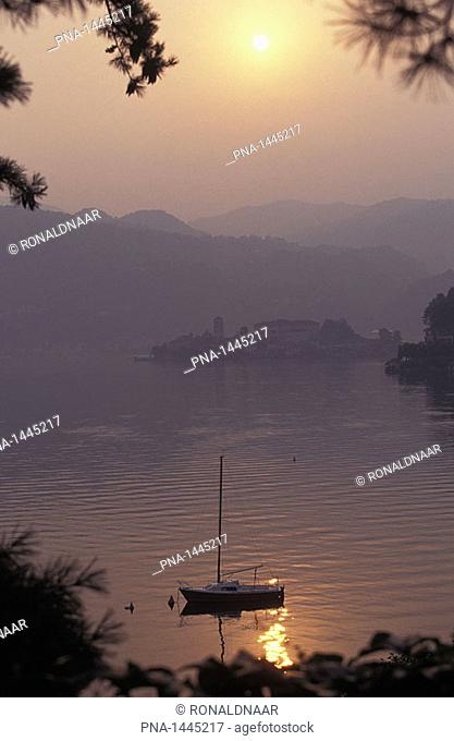 Lago d'Orta with Isla San Giulio, a lake in Piedmont, Northern Italy