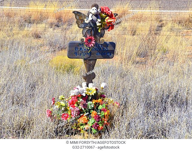 Roadside memorial to automobile accident victim, New Mexico, USA