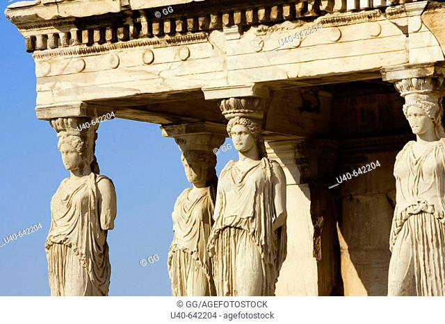Greece, Athens, Caryatids at the Erechteion, Acropolis