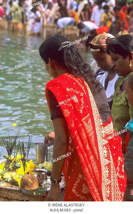Mauritius - Grand Bassin - Ganga Talao - Hindu sacred lake - Indian Celebration - Maha Shivaratree - woman in red Sari