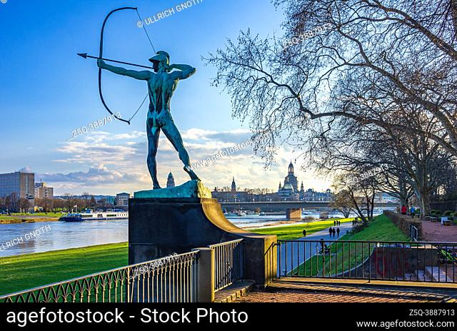 The Archer, also Green Bowman, a bronze sculpture made by Ernst Moritz Geyger in 1902 and placed in the Staudengarten (Perennial Garden) on the Neustadt side of...