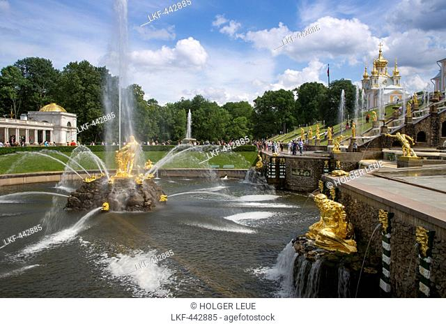 Grand Cascade fountains at Peterhof Palace (Petrodvorets), St. Petersburg, Russia, Europe