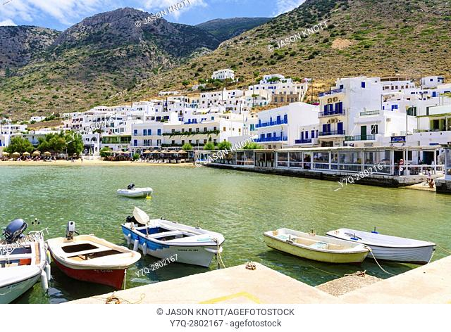 Small boats in the sheltered bay of Kamares Town, Sifnos, Cyclades, Greece