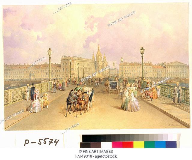 View of the Blagoveshchensky Bridge in Saint Petersburg. Sadovnikov, Vasily Semyonovich (1800-1879). Watercolour on paper. Romanticism. 1851