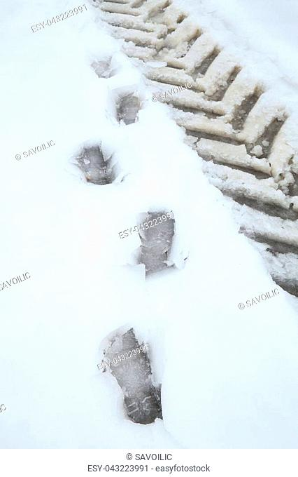 Footprint and tyre track on the snow