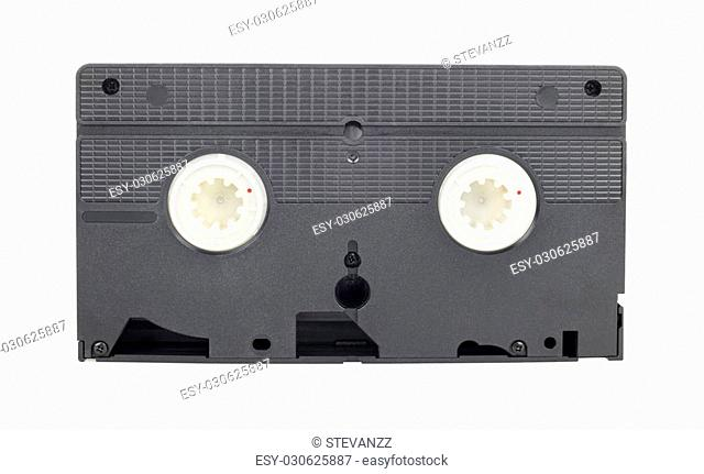 Old vintage vhs video cassette back side isolated on white background