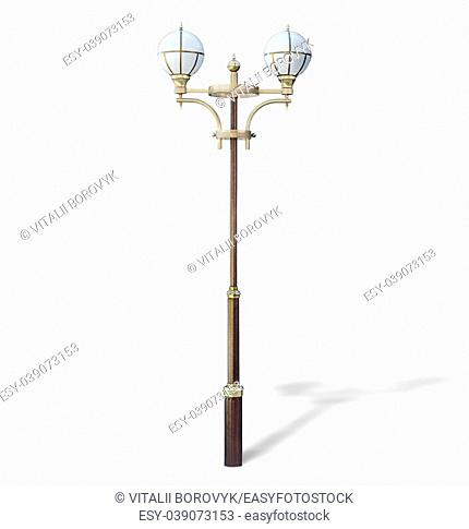 Modern park lamp isolated on white background