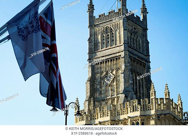 The tower of the Church of St. John the Baptist , a parish church in the Church of England in Cirencester, Gloucestershire, England, UK