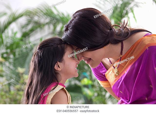 Mother and daughter enjoying