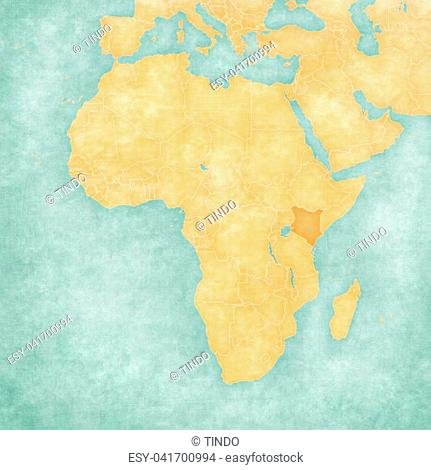 Kenya on the map of Africa in soft grunge and vintage style, like old paper with watercolor painting