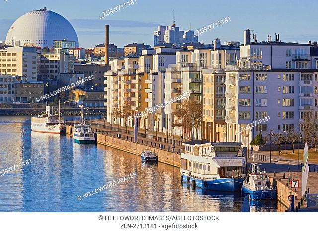 Hammarby Sjostad eco neighbourhood and Ericsson Globe Arena, Stockholm, Sweden, Scandinavia