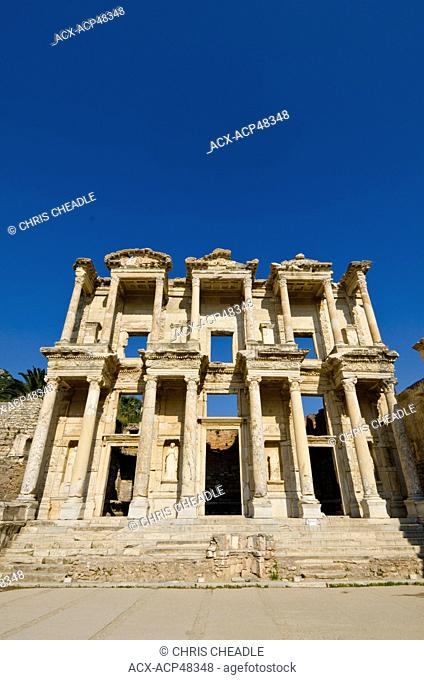 Library of Celsus at Ephesus, an ancient Greek city, and later a major Roman city, on the west coast of Asia Minor, near present-day Selçuk, Izmir Province