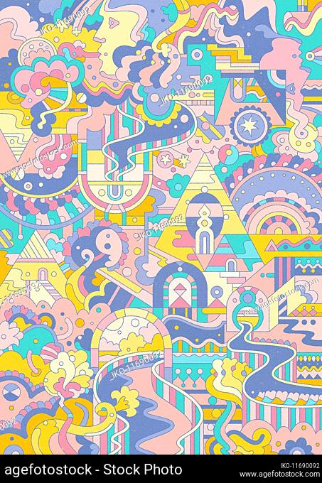 Elaborate pastel abstract pattern