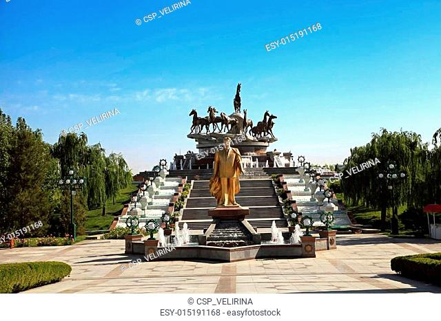 Monumen of Niyazov and sculptural composition to fast horses in