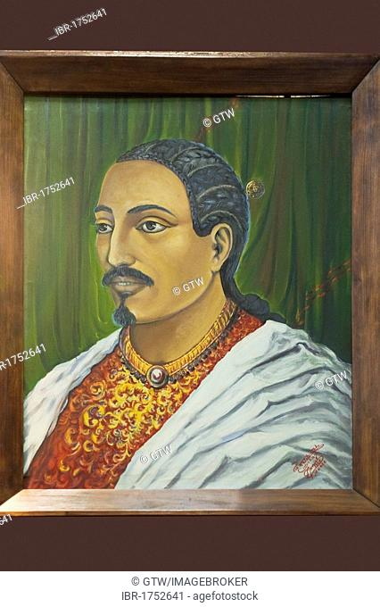 Painting representing Emperor Yohannes IV, 1831-1889, Addis Ababa National Museum, Ethiopia, Africa