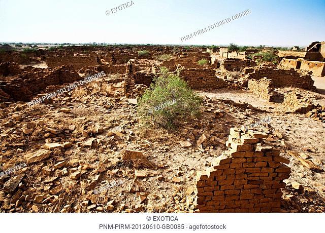 Ruins of deserted village, Kuldhara Village, Jaisalmer, Rajasthan, India