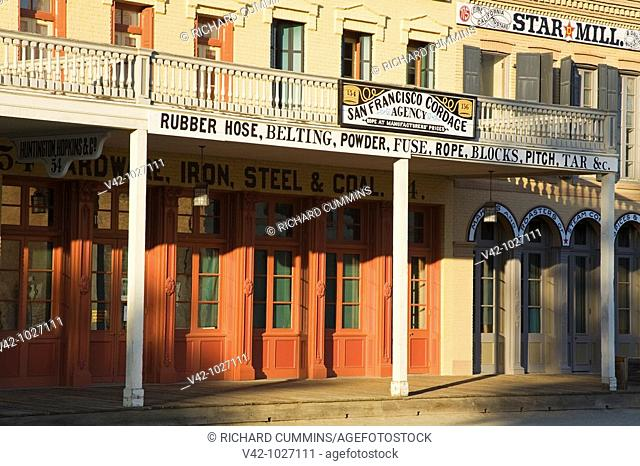 Historic buildings on I Street in Old Town Sacramento, California, USA