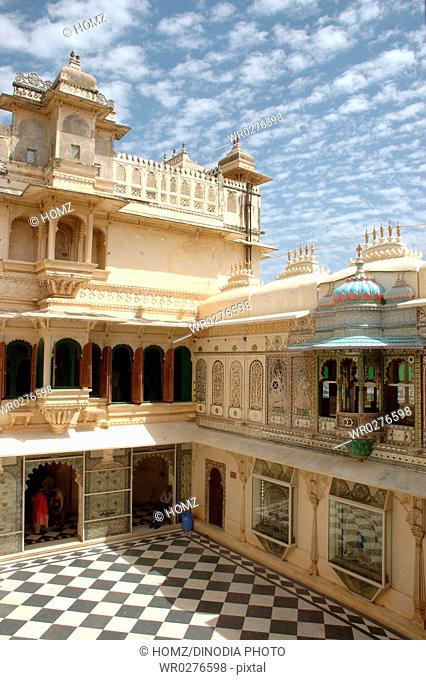 Mor Chowk , Peacock courtyard in the Udaipur city palace now converted to museum , Udaipur , Rajasthan , India