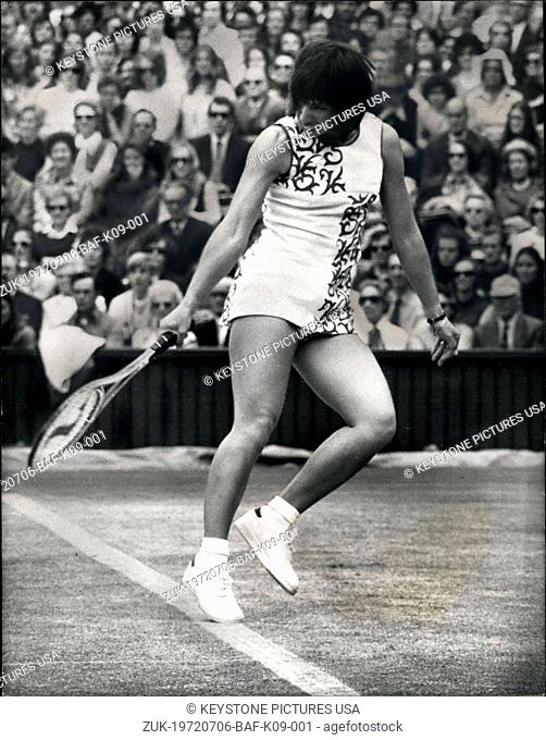 Jul. 06, 1972 - Tennis at Wimbledon Rosie Casals runs into trouble over dress: Rosie Casals of America, who was beaten in yesterday's semi-final at Wimbledon by...
