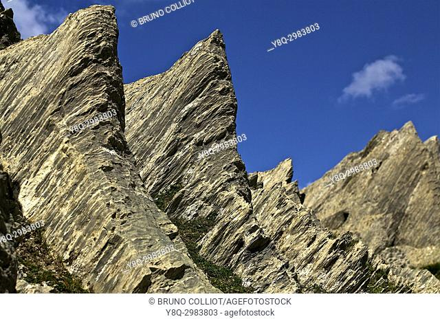 geology at the st martin stone pass. GR10. . The pass of the Pierre Saint-Martin is a mountain pass of the Pyrenees, located on the Franco-Spanish border