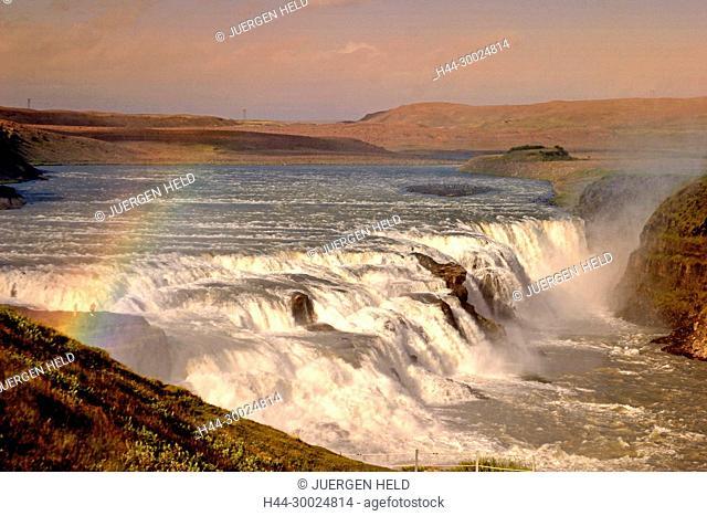 Iceland, Gulfoss waterfall, sunset, rainbow