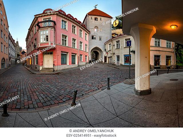 Tallinn Down Town and Tower Gate to the Upper Town, Tallinn, Estonia