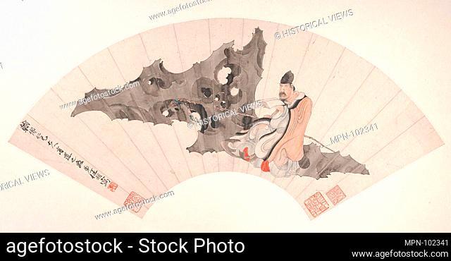 Scholar on a Rock. Artist: Ren Yi (Ren Bonian) (Chinese, 1840-1896); Period: Qing dynasty (1644-1911); Date: ca. 1880; Culture: China; Medium: Folding fan...