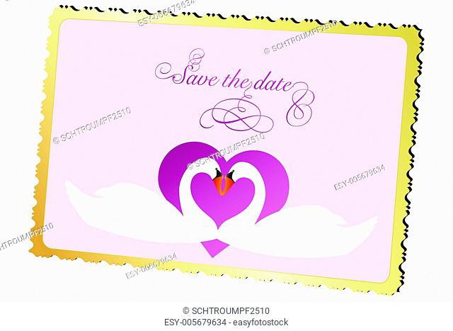 Wedding announcement card with swan and heart