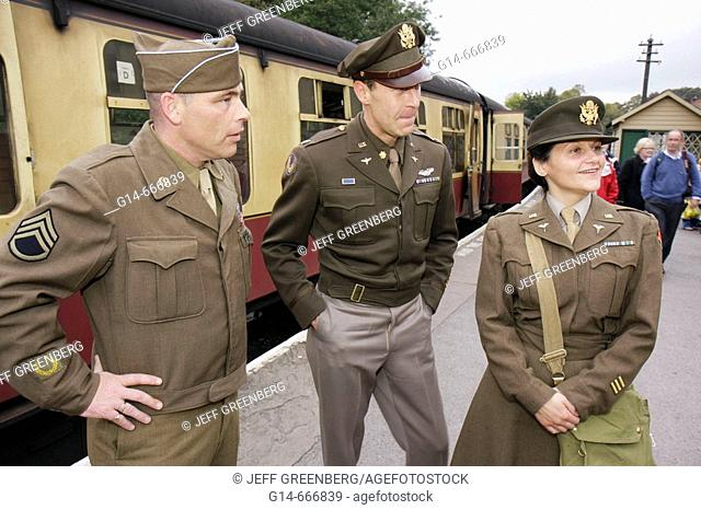 UK, England, North Yorkshire, Pickering, North Yorkshire Moors Railway, 1940's Weekend, World War II period clothing, passengers, American soldiers
