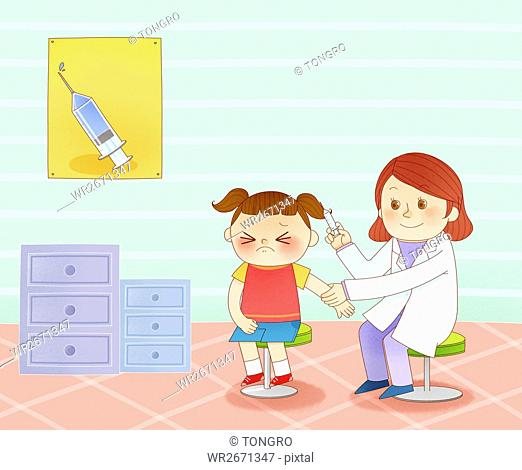 Girl getting a vaccination