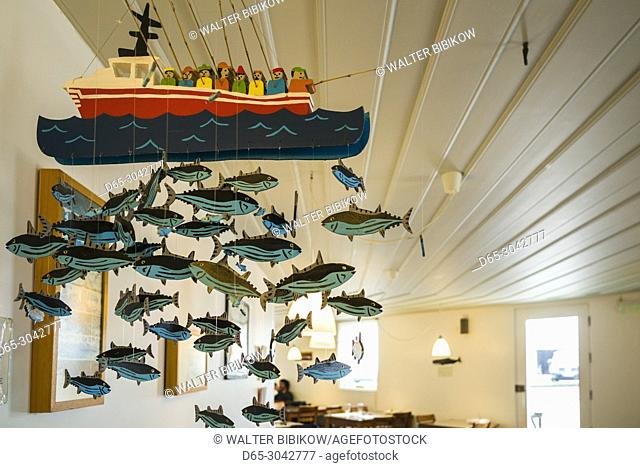 Portugal, Azores, Pico Island, Lajes do Pico, fish mobile in town cafe