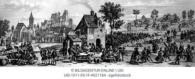 Village fair around 1535, germany, historical illustration