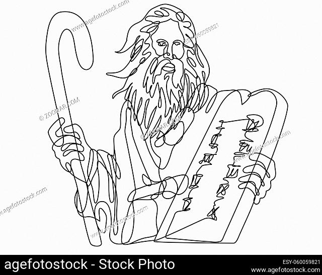 Continuous line drawing illustration of the Prophet Moses with staff holding a stone table with ten commandments done in mono line art doodle style in black and...