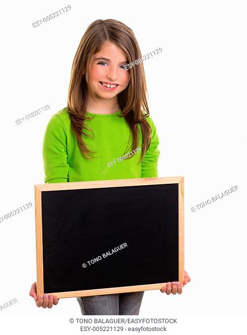 child smiling girl with blank frame copy space black blackboard happy