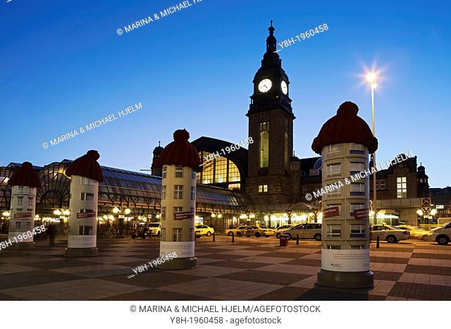 Central Station Hamburg with, Advertising Column; Germany