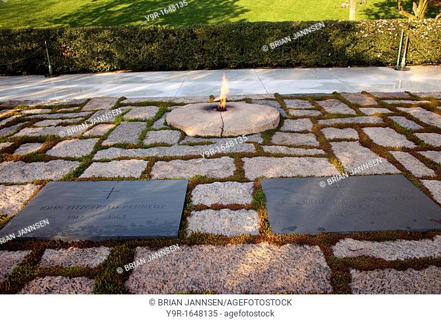 Gravesite of President John F Kennedy and wife Jacqueline at Arlington National Cemetery near Washington DC USA