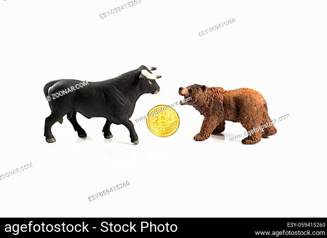 Bear and bull market with Bitcoin on white background