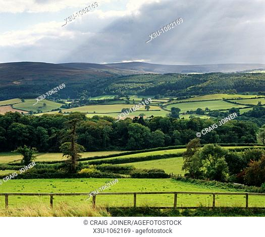Dunkery Hill and Horner Hill viewed from the village of Selworthy in Exmoor National Park, Somerset, England