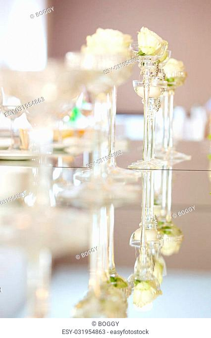 Detail of the wedding decoration on the table